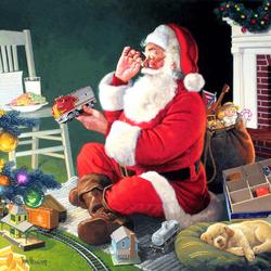 Пазл онлайн: Санта и игрушки