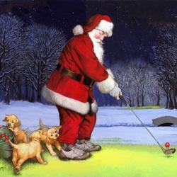Пазл онлайн: Санта играет в гольф