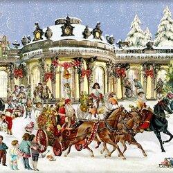 Пазл онлайн: Сани с Санта Клаусом