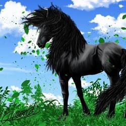 Пазл онлайн: Вороной конь