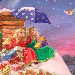 Пазл онлайн: Ангельская доставка подарков