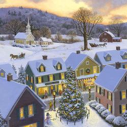Пазл онлайн: Рождество в городе