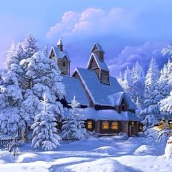 Пазл онлайн: Голубой снег