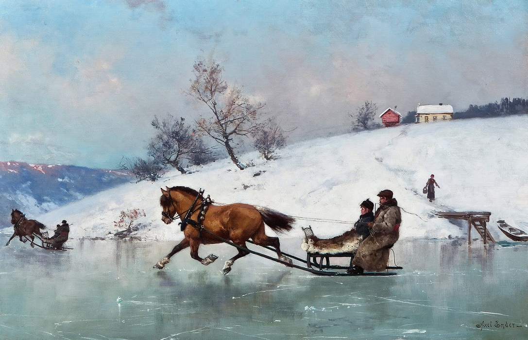 Техника, зимние картинки с санями и лошадками