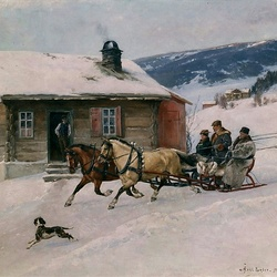 Пазл онлайн: Зимняя поездка