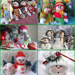 Пазл онлайн: Забавные снеговики
