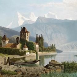 Пазл онлайн: Вид замка Оберхофен на Тунском озере