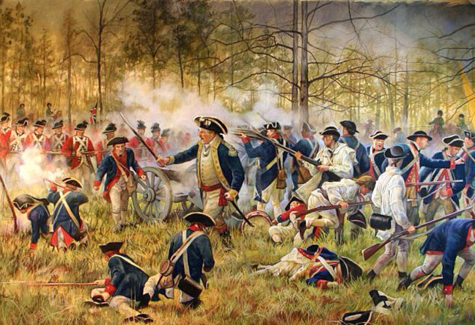the battle between american colonists and british soldiers in the revolutionary war