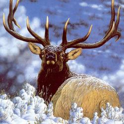 Пазл онлайн: Олень в снегу