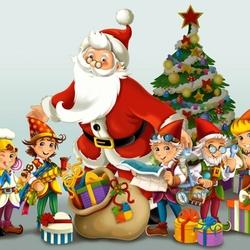 Пазл онлайн: Санта и гномики