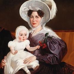 Пазл онлайн: Портрет дамы с дочерью