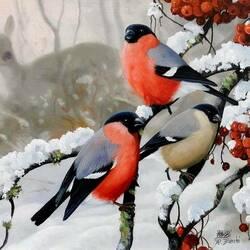 Пазл онлайн: Снегири