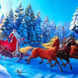 Пазл онлайн: Дед Мороз к нам мчится