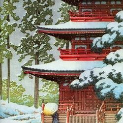 Пазл онлайн: Пагода зимой