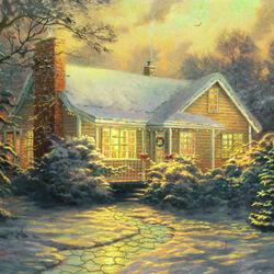 Пазл онлайн: Рождественский домик