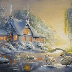 Пазл онлайн: Зимние лебеди