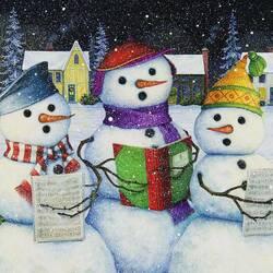 Пазл онлайн: Хор снеговиков