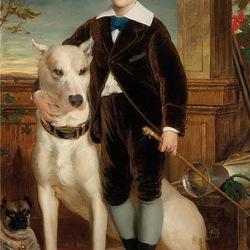 Пазл онлайн: Мальчик с собаками