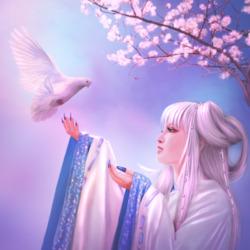 Пазл онлайн: Девушка и голубь