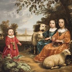 Пазл онлайн: Дети с овечками