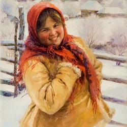 Пазл онлайн: Девушка в красном платке
