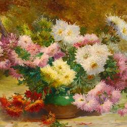 Пазл онлайн: Ваза с хризантемами в саду
