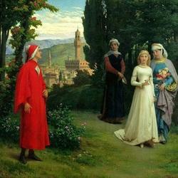 Пазл онлайн: Первая встреча Данте с Беатриче