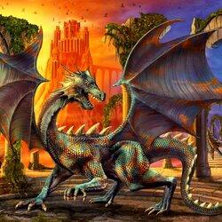 Пазл онлайн: Дракон и замок