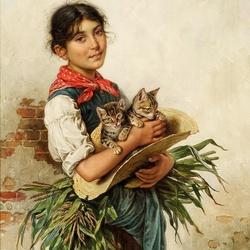Пазл онлайн: Девушка с котятами