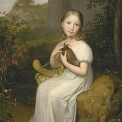 Пазл онлайн: Девочка с птицей
