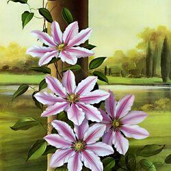 Пазл онлайн: Цветы на фоне пейзажа