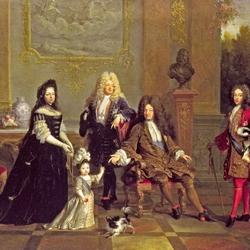 Пазл онлайн: Портрет Людовика XIV с семьей