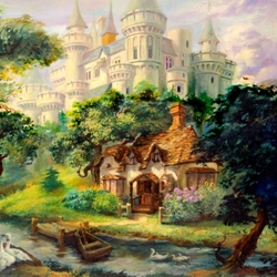 Пазл онлайн: Небольшой коттедж возле замка