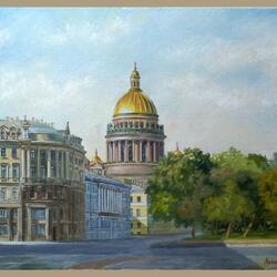Пазл онлайн: Вид на Исаакиевский собор с Дворцовой площади