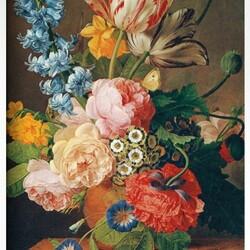 Пазл онлайн: Букет с тюльпанами и розой