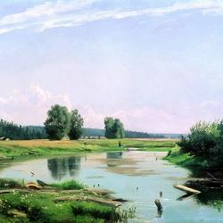 Пазл онлайн: Пейзаж с озером