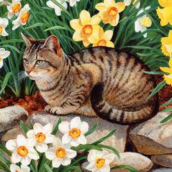 Пазл онлайн: Котик в нарциссах