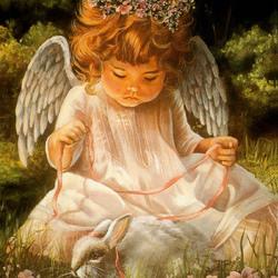 Пазл онлайн: Ангелок с ленточкой