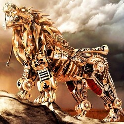 Пазл онлайн: Стальной лев