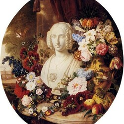 Пазл онлайн: Натюрморт с плодами, цветами и мраморным женским бюстом