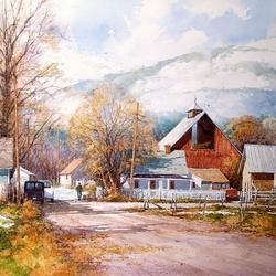 Пазл онлайн: Ферма зимой