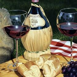 Пазл онлайн: Вино и хлеб