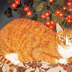 Пазл онлайн: Рыжий кот и герань