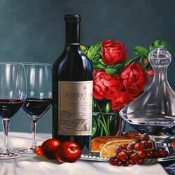 Пазл онлайн: Натюрморт с вином и пионами