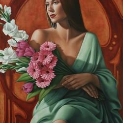 Пазл онлайн: С цветами в руках