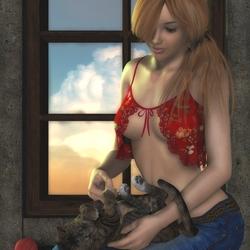 Пазл онлайн: Играя с Китти