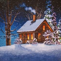 Пазл онлайн: Дом зимой