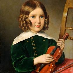 Пазл онлайн: Мальчик со скрипкой