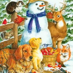 Пазл онлайн: Приятели снеговика