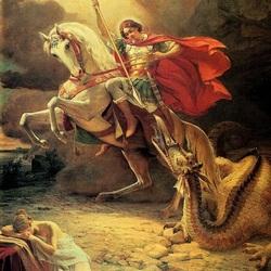 Пазл онлайн: Святой Георгий убивает дракона